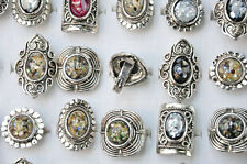 5x Wholesale Mixed Color Vintage Stone Tibet Silver Plated Ring Fashion Jewelry