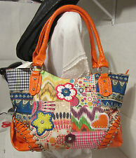 Canvas Patch Boho ShoulderBag Shopper Tote Rhinestones Silver Color Studs  BNWT