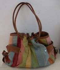 FOSSIL STRIPED LEATHER SUEDE CASTILLE PURSE HOBO SLOUCH TOTE BAG
