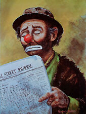 Vintage CLOWN Reading WALL STREET JOURNAL Poster EMMETT KELLY Weary Willie MINT