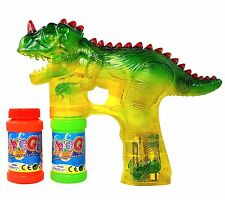 Haktoys Dinosaur Bubble Shooter Gun - Sound,LED Lights, Extra Bottle & Batteries