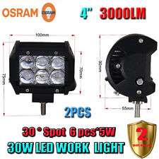 2X 4inch 30W OSRAM Led Light Bar Spot Work Light 4WD SUV Off-road Driving Lamp
