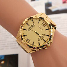 Luxury Mens Gold Dial Gold Stainless Steel Date Quartz Analog Sport Wrist Watch