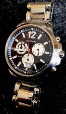Tourneau Mens Seapearl Watch 5050.B Sapphire WR 20ATM Swiss Chronograph 42mm