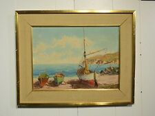 """Vintage Oil on Board European painting of sailboats Signed """"Hayes"""""""