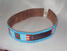 CROW NEZ PERCE  INDIAN BELT NATIVE AMERICAN BEADWORK GLASS BEADS Leather 1880's