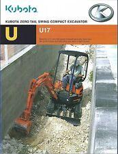 Equipment Brochure - Kubota - U17 - Zero Tail Swing Excavator - c2008 (E3311)