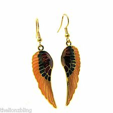 """Southwest style Gold Wing Earrings with Burgundy & Purple Accents 2 1/2"""" Drop"""