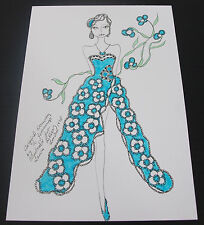 Roz Jennings Fashion Drawing Original Art Work Illustrator Laura Ashley 1970s A9