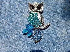Blue Jewelled Owl Needle Minder Cross Stitch Gift Neodymium Gift Packaged