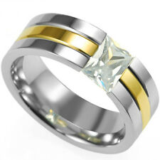 Men Stainless Steel Ring Princess Cut Gemstone CZ Crystal Fashion School Father