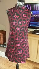 asos pink animal print 60s style dress size 10 Brand new with tags