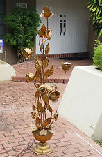 50's ITALIAN TOMMASO BARBI / CARLO GIORGO ERA GILDED TOLE ROSE FLOWER FLOOR LAMP
