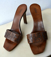 FENDI Designer Wood & Leather Sandal Shoes Sz 39.5 Made in Italy Authentic Rare!