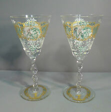 Antique Venetian Wine Glasses Enamelled with Armorial Crests - Salviati ?