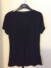 NEW LADIES M&S COLLECTION BLACK WITH GLITTER PLEATED FRONT T-SHIRT BLOUSE SIZE 8