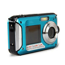 Double Screen HD 24MP Waterproof Digital Video Camera 1080P DV,Blue,Underwa X5A3