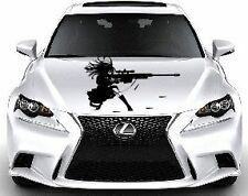 ANIME GIRL w BIG GUN Custom Wrap Hood Car Vinyl Decal Art Sticker Graphics BB52