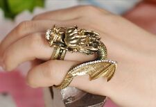Charm Retro Bronze Plated Crystal Wing Dragon Double Finger Rings US Size 7/7.5