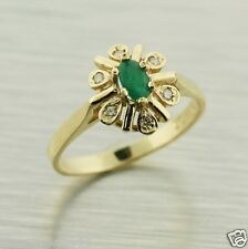 Natural Emerald and Diamonds 10K Solid Yellow Gold Ring