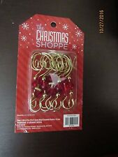 NEW 12 Metal Gold Swirl Decorative Christmas Tree Ornament Hooks with beads..