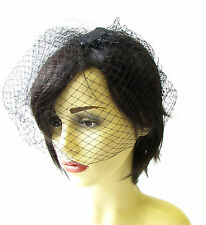 Black Birdcage Veil Hair Clip Fascinator Net Hair Vintage Races Headpiece 1380