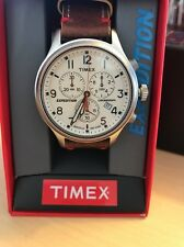 Timex TW4B04300 Expedition Scout Chronograph Watch NIB Leather