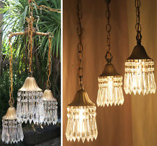 Vintage hanging Swag lamp chandelier tole brass Deco in Lily crystal prism Light