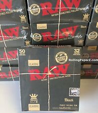 Full Box 50 Packs RAW BLACK double pressed CLASSIC KING SIZE SLIM ROLLING PAPERS