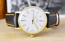 USSR Poljot de luxe Gold Plated Russian Soviet Men's Watch with new strap band