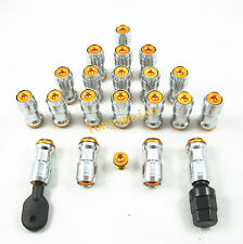 GOLD LUG NUTS WHEEL RIMS TUNER STEEL JDM EXTENDED DUST CAP M12x1.5 WITH LOCK