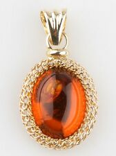 14k Yellow Gold Amber Cabochon Pendant Great Condition! 22 mm x 18 mm 3.4 grams