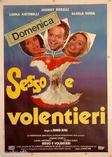 manifesto 2F originale SESSO E VOLENTIERI Laura Antonelli Gloria Guida 1982