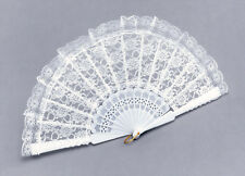 Fan White Lace Fan Accessory for Parasol Victorian Fancy Dress Fan