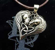 Unicorn Heart bronze pendant necklace by Lisa Parker on cord Licensed product