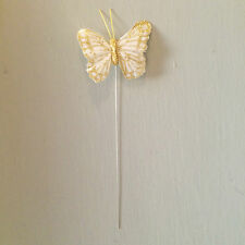 White and Gold Wired Feather Butterflies x12, Shabby Chic Wedding Decoration