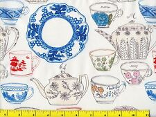 Blue Red Pink China Plates Cups Teapots on White Quilting Fabric by Yard  #653