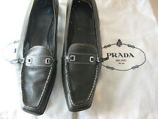 Size 41 9.5 9 ½ Chocolate Prada Loafers Italian Designer Shoes