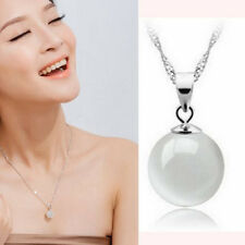 Beauty Lady Chain Necklace Opal/Cat Eye Pendant Jewelry Silver Necklace Hot