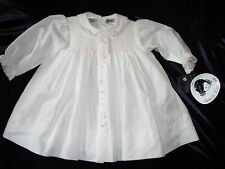 SARAH LOUISE BABY GIRL WHITE SMOCKED DRESS PINK FLOWER EMBROIDERY NEW NWT 3-6