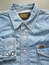 Wrangler Western Denim Shirt Men's Large XL Extra Blue Pearl Snaps Vtg LSHz297