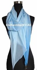 New Shaded 100% Pure Silk Oblong Scarf Shawl Wrap, Shaded Baby Blue