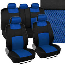 Blue Full Set of Deluxe Polyester/Mesh Accent Car Seat Covers Low Back 9pc