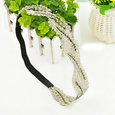 Boho Retro Elegant Women Lace Headband Hair Band Wide Headwraps Hair Accessories