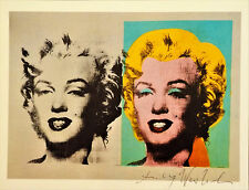 "Andy Warhol, ""TWO MARILYNS"" Hand Signed print in Black pen, 1986 WITH COA"