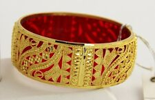 BOHO CHIC FASHION Jewelry RED PLASTIC & GOLD METAL BANGLE BRACELET FROM INDIA