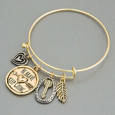 Gold Silver Heart Arrow Feather Be Brave Keep Going Charm Bangle Bracelet
