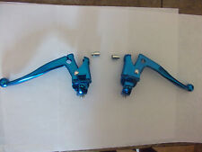 Pair OLD SCHOOL RETRO BMX Anodised Blue Alloy Cranked BRAKE LEVERS with Ferrules