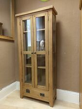 Westminster SOLID OAK DISPLAY CABINET Unit Cupboard  Shelving Glass Glazed