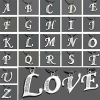 New Silver Crystal Rhinestone Letter Charm Initial Alphabet Pendant Necklace A-Z